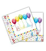 Party Servítky HAPPY BIRTHDAY Streamers 33 x 33cm 20 ks/bal